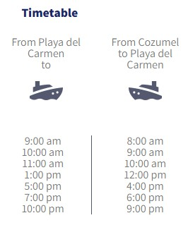 Cozumel Ferry Time Table - Mexplor