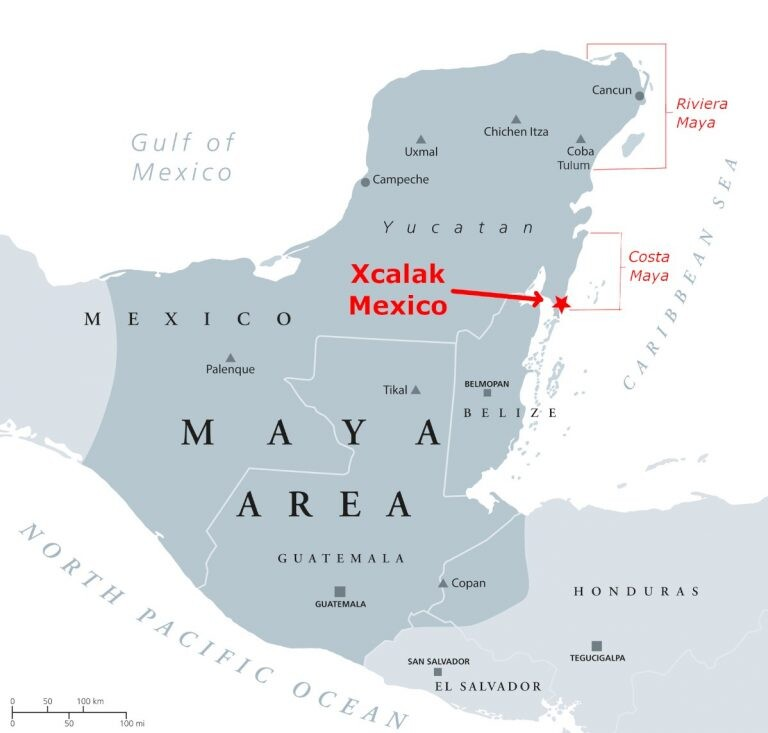 Xcalak Mexico Map
