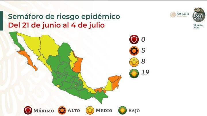 Semaforos COVID de riesgo epidemico en Mexico